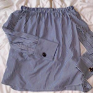 Tops - off the shoulder striped blouse / ZARA